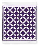 Moroccan Endless Circles II With Border In Purple Fleece Blanket