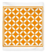 Moroccan Endless Circles II With Border In Tangerine Fleece Blanket