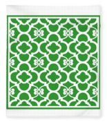Moroccan Floral Inspired With Border In Dublin Green Fleece Blanket