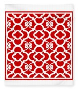 Moroccan Floral Inspired With Border In Red Fleece Blanket