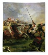 Moroccan Horsemen In Military Action Fleece Blanket
