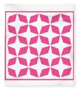 Moroccan Inlay With Border In French Pink Fleece Blanket