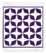 Moroccan Inlay With Border In Purple Fleece Blanket
