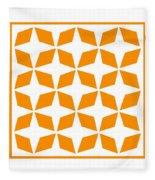 Moroccan Inlay With Border In Tangerine Fleece Blanket