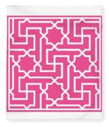 Moroccan Key With Border In French Pink Fleece Blanket