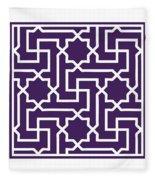 Moroccan Key With Border In Purple Fleece Blanket