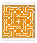 Moroccan Key With Border In Tangerine Fleece Blanket