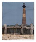 Morris Island Lighthouse Sea Wall Fleece Blanket