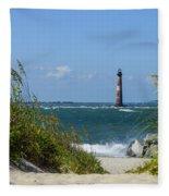 Morris Island Lighthouse Walkway Fleece Blanket