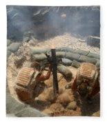 Mortar Crew In Action Fleece Blanket