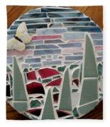 Mosaic Sailboats Fleece Blanket