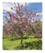 Moscow, Pink Cherries In Kolomenskoye Park Fleece Blanket
