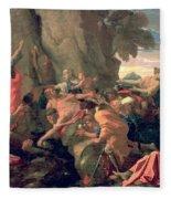 Moses Striking Water From The Rock Fleece Blanket