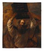 Moses With The Ten Commandments Fleece Blanket