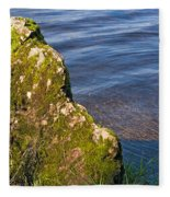 Moss Covered Rock And Ripples On The Water Fleece Blanket