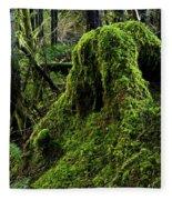 Moss Covered Tree Stump Fleece Blanket