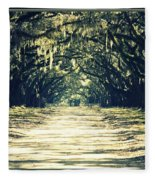 Moss Green Road Fleece Blanket