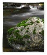 Mossy Boulder In Mountain Stream Fleece Blanket