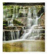 Mossy Flowing Waterfalls In Enfield Glen Fleece Blanket