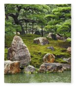 Mossy Japanese Garden Fleece Blanket