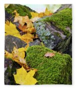 Mossy Stones And Maple Leaves Fleece Blanket