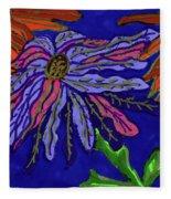 Most Unusual Poinsettia In A Midnight Blue Sky Fleece Blanket