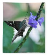 Moth On Blue Flower Fleece Blanket