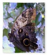 Moth On Blue Flowers Fleece Blanket