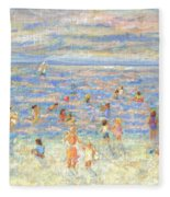 Mother And Child At The Beach Fleece Blanket