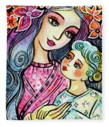 Mother And Child In Blue Fleece Blanket