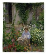 Mother And Child In The Flowers Fleece Blanket