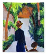 Mother And Child In The Park Fleece Blanket