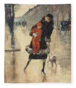 Mother And Child On A Street Crossing Fleece Blanket