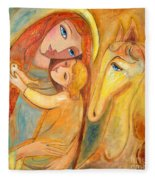 Mother And Child On Horse Fleece Blanket