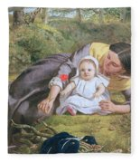 Mother And Child With A Poppy Fleece Blanket