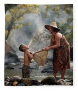 Mother And Son Are Happy With The Fish In The Natural Water Fleece Blanket