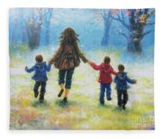 Mother And Three Sons  Fleece Blanket