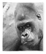 Mother Gorilla In Thought Fleece Blanket