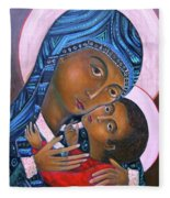 Mother Of God And Child Fleece Blanket