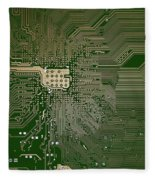 Motherboard Architecture Green Fleece Blanket