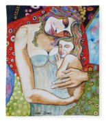 Motherhood - Tribute To Klimt Fleece Blanket