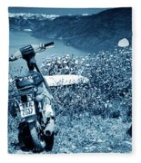 Motor Scooters In Greece Fleece Blanket