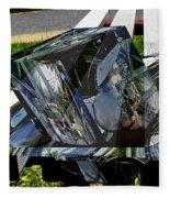 Motorcycle And Park Bench As Art Fleece Blanket