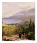 Mount Athos And The Monastery Of Stavroniketes Fleece Blanket