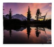 Mount Baker Sunrise Reflection Fleece Blanket