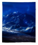 Mount Denali Moonlight Alaska Fleece Blanket
