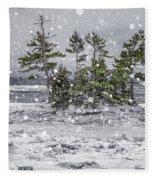 Mount Desert Narrows Snowscape Fleece Blanket