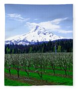 Mount Hood Behind Orchard Blossoms Fleece Blanket