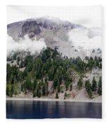 Mount Lassen Volcano In The Clouds Fleece Blanket