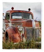 Old Fire Truck In The Mountains Fleece Blanket